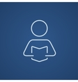 Man reading book line icon vector image