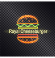 neon icon of royal cheeseburger colorful banner vector image