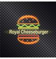 neon icon of royal cheeseburger colorful banner vector image vector image