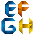 Origami alphabet letters E F G H vector image vector image