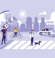 police man with car and people in road street vector image