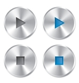 Realistic metallic Play and Stop player buttons vector image vector image