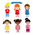 set girls in pajamas vector image vector image