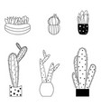 set of cute cartoon style cactus and succulents vector image vector image