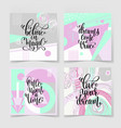 set of four square posters hand lettering positive vector image vector image