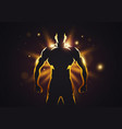 silhouette golden strong man with muscles vector image