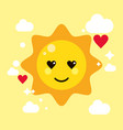 sun yellow kawaii cartoon happy cute icon vector image vector image
