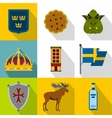 Sweden icons set flat style vector image vector image