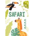 wildlife safari and travel poster design vector image vector image