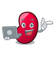 with laptop jelly bean character cartoon vector image