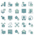 work from home colored icons - remote work vector image
