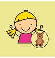 girl happy cartoon teddy vector image