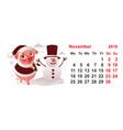 2019 year calendar november month pig makes vector image vector image