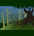 A forest landscape with big and dark tree