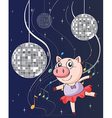 A pig dancing with disco lights