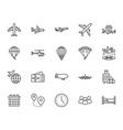 aircraft flat line icons set airplane helicopter vector image