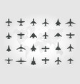 aircraft top view icon set set black vector image