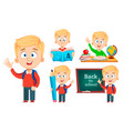 back to school cute schoolboy set five poses vector image vector image