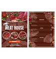 barbecue meat menu for restaurant brochure design vector image