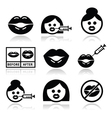 Big lips lip augmentation icons - beauty concept vector image