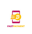 bitcoin payment fast money transfer icon vector image vector image