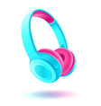 blue and pink headphones isolated on white vector image vector image
