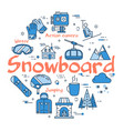 blue snowboard concept vector image vector image