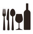 bottle wineglass knife fork and spoon vector image vector image
