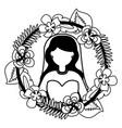 bride with flower garland wedding day vector image