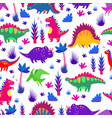 bright colorful funny dinosaurs seamless pattern vector image