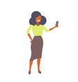 businesswoman taking selfie photo smartphone vector image vector image