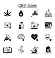 cbd cannabis icons set graphic design vector image