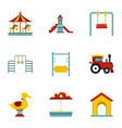 children playing elements icons set flat style vector image vector image