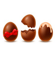 chocolate easter eggs set broken whole decorated vector image