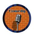 comedy mic circle vector image vector image