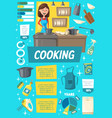 cooking household dishware and charts vector image vector image