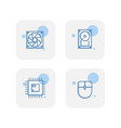 creative blue computer component icons design vector image vector image