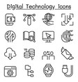 digital data technology icon set in thin line vector image vector image