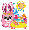 Easter greeting card the rabbit vector image vector image