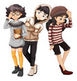 fashionable young people character vector image