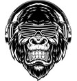 ferocious gorilla in headphones vector image vector image