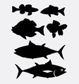 Fish animal silhouette 3 vector image vector image