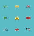 flat icons cab motorbike chopper and other vector image vector image