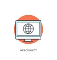 Flat lined internet icon Web connection vector image vector image