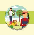 gardeners man and woman shovel fertlizer watering vector image