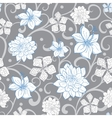 Gray Sky Blue Swirl Florals Seamless vector image
