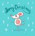 greeting christmas card with cute mouse vector image vector image