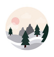 landscape nature hills pine trees forest sun flat vector image
