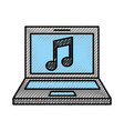 laptop computer with music note isolated icon vector image vector image