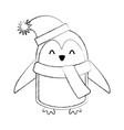 line icon christmas penguin cartoon vector image vector image